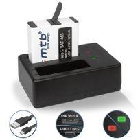 mtb more energy® - Batterie 1250mAh, + Double Chargeur USB, pour GoPro Hero 5 avec firmware jusqu'à la version 1.2 - Cable Micro-USB inclus