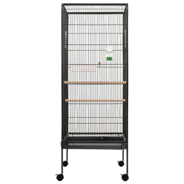 Icaverne - Cages & perchoirs à oiseaux categorie Cage à oiseaux Gris 54x54x146 cm Acier