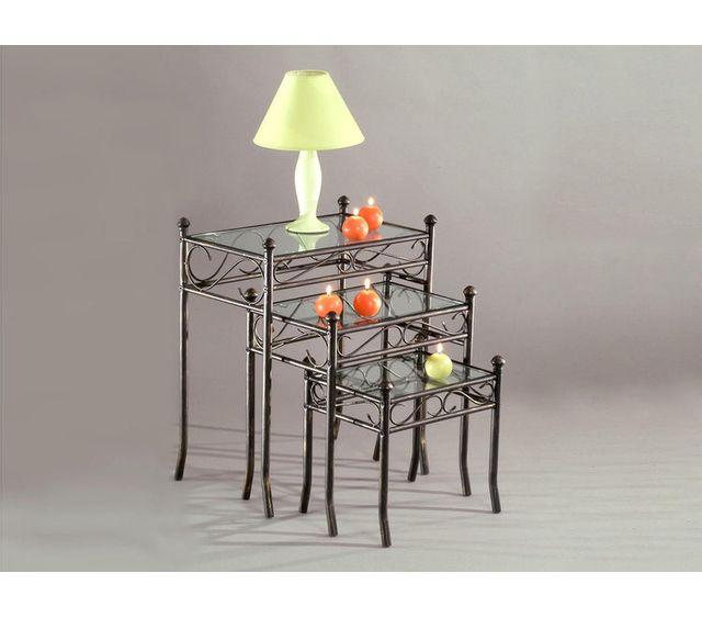 Marque Generique - Ensemble de 3 tables gigognes Reva en Fer forgé + Verre Nc - 0cm x 0cm x 0cm