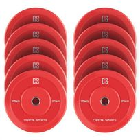 CAPITAL SPORTS - Nipton Bumper Plates 5 paires 25 kg rouge caoutchouc dur