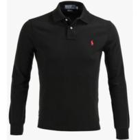 Ralph Lauren - Polo Noir Custom-fit Manches Longues Taille L