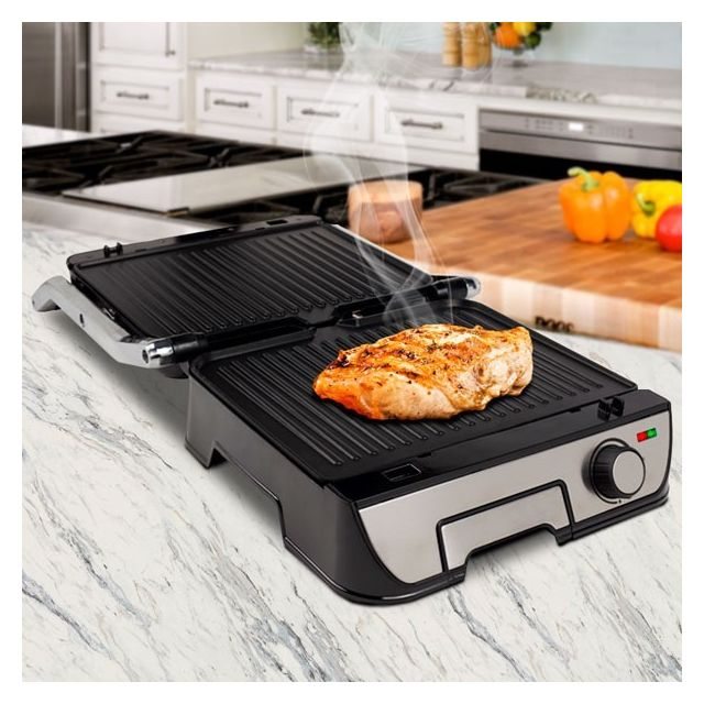 Totalcadeau Plaque barbecue rabattable 2 en 1 - Grill et plancha