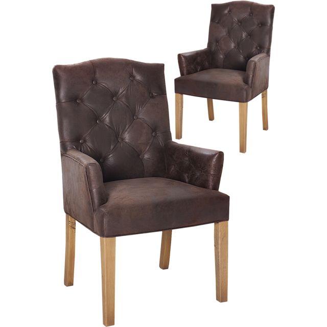 COMFORIUM Lot de 2 chaises design en microfibre coloris brun avec piétement en bois massif