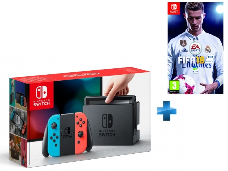 Console Switch avec un Joy-Con rouge néon et un Joy-Con bleu néon + FIFA 18 - Switch