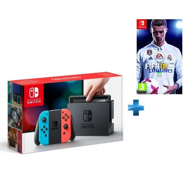 NINTENDO - Console Switch avec un Joy-Con rouge néon et un Joy-Con bleu néon + FIFA 18 - Switch