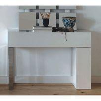 Cubisl - Console - Laqué Blanc brillant, un pied Inox - 110x29x75 - L'unité