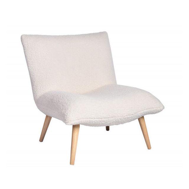 Mathi Design Polard - Fauteuil imitation laine mouton blanc