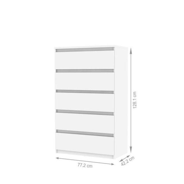 MARQUE GENERIQUE COMMODE DE CHAMBRE Commode de chambre NATTI style contemporain blanc mat - L 78 cm