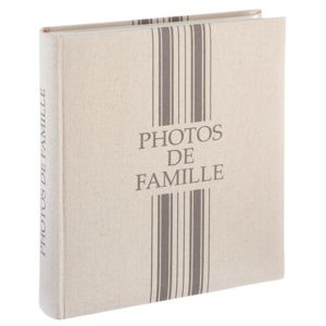Touslescadeaux - Album Photo Grand Format - 500 Photos - 10x15 cm - gris - couverture lin