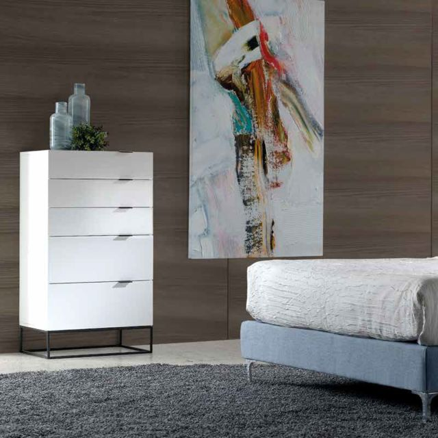 Nouvomeuble Chiffonnier design blanc laqué et noir Emilia