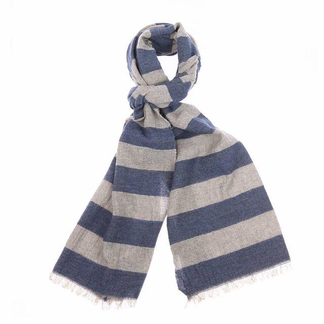 Marc O POLO - Echarpe à franges en lin et laine à rayures bleu et gris  vintage - pas cher Achat   Vente Echarpes, foulards - RueDuCommerce 2eb5754538c