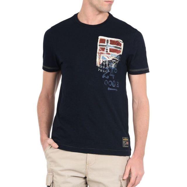8323c4222e2f Napapijiri - Stak Blu Marine Napapijri - pas cher Achat   Vente Tee shirt  homme - RueDuCommerce