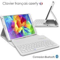 Karylax - Etui Blanc avec Clavier Azerty Bluetooth pour Samsung Galaxy Tab S 8.4 T700/705