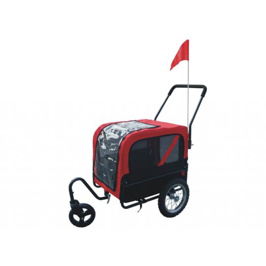Rocambolesk - Superbe Remorque convertible pour chien Série luxe rouge et noire Neuf