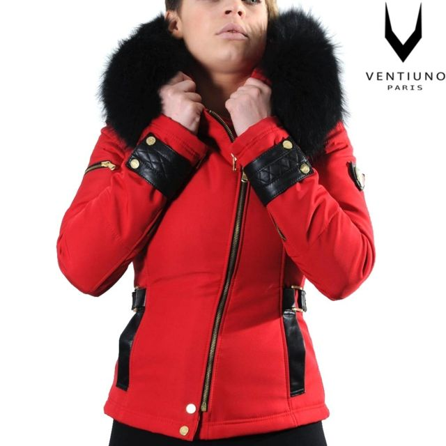 01e2ff5b7fd5 Ventiuno - Ventiuno Veste Perfecto Emily rouge Bi-matière fourrure Renard  véritable noir et cuir