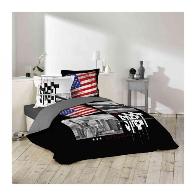 douceur d 39 interieur parure de lit nyc street 240x220 noir pas cher achat vente parures de. Black Bedroom Furniture Sets. Home Design Ideas