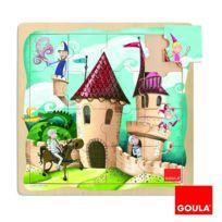 Goula - Puzzle 16 pièces en bois : Puzzle château