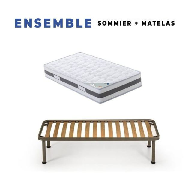King Of Dreams Matelas 80x200 x 23 cm + Sommier + pieds Offerts avec Latex Naturel densité 80 Kg/m3 - Tissu 100% Coton - Compatible Som