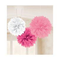 Amscan - Boules de décoration roses x3