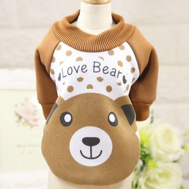 Wewoo Vêtements pour chien Miniature Pull Teddy animaux domestiques Col rond Toison décontractéeTaille S café