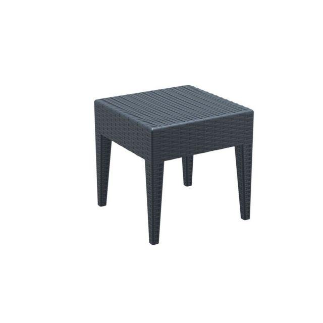Decoshop26 - Table basse de jardin carré étanche en plastique gris ...
