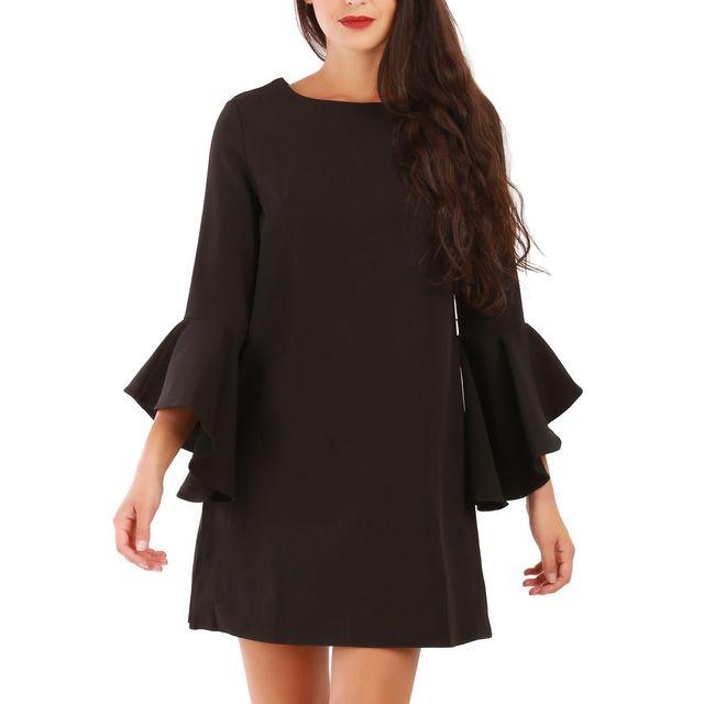 6c871b5584716 La Modeuse - Robe noire avec manches à volants - pas cher Achat ...