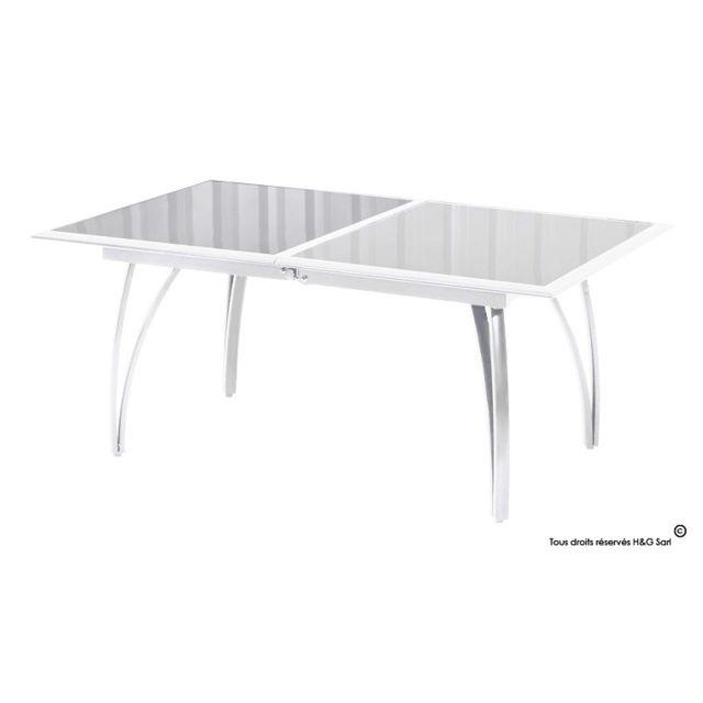 Dcb - Table De Jardin En Aluminium Blanc Avec Rallonge Sans housse ...