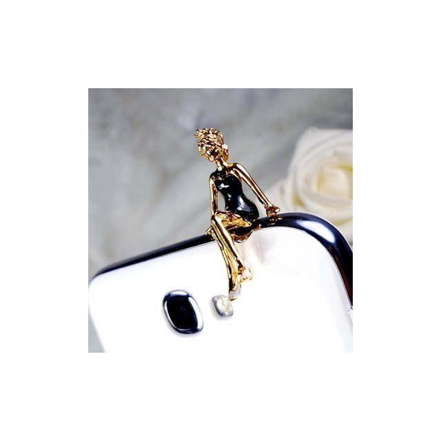 2ea85bce782ef Blue Pearls - Accessoire Bijoux SmartPhone Princesse email Noir et or jaune  - Plug C0025 L