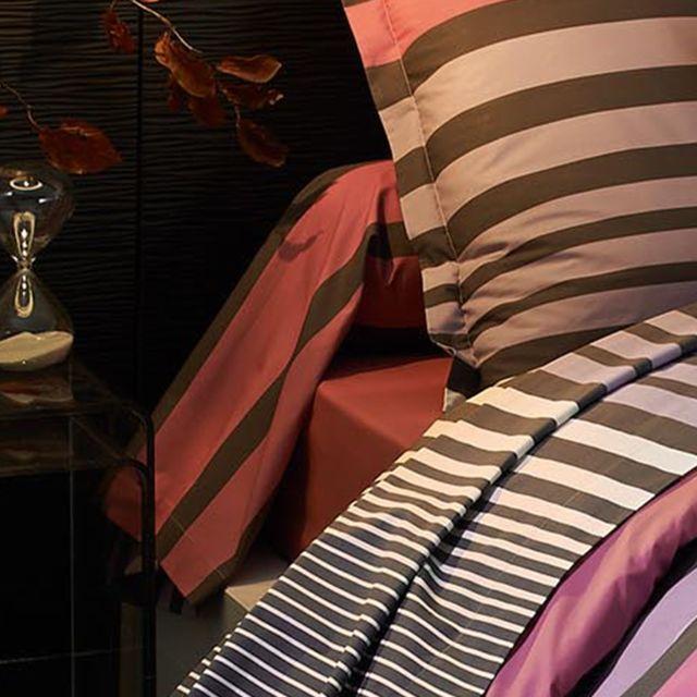 linnea taie de traversin 140x43 cm percale pur coton stripe camelia multicolore nc pas. Black Bedroom Furniture Sets. Home Design Ideas