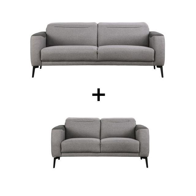 Moloo Lift-ensemble Canapés 3+2 places têtières relevables Mix tissu gris