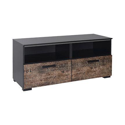 Meuble Tv 110x49x42cm - noir et marron
