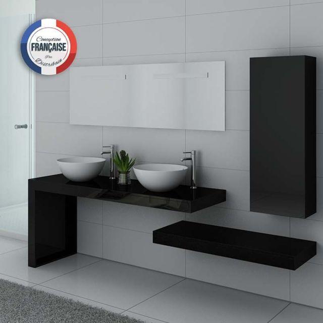 Distribain - Meuble double vasque Monza Duo Noir - pas cher Achat ...