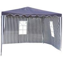 CARREFOUR - ALZIRA - Tonnelle avec 2 rideaux - Bleu et blanc