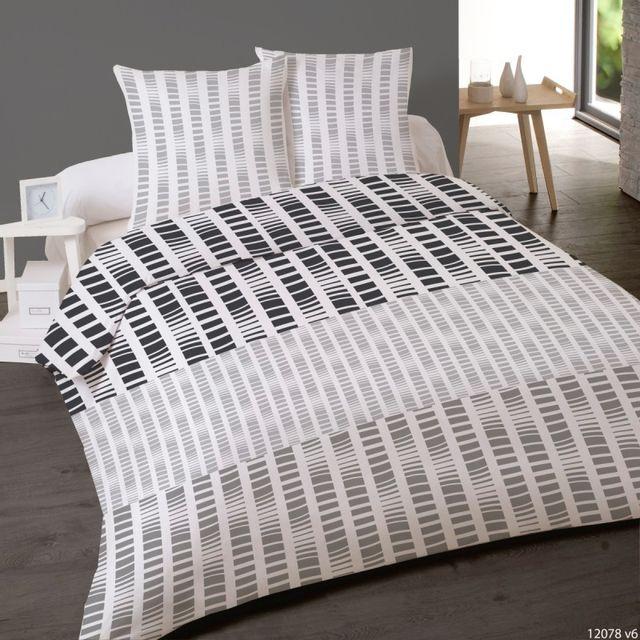 100pourcentcoton housse de couette 200x200 cm 2 taies d 39 oreiller 63x63 cm microfibre silex dv. Black Bedroom Furniture Sets. Home Design Ideas