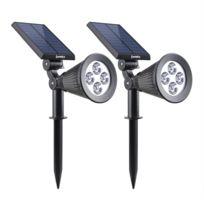 Lumisky - Set de 2 Spot lumineux blanc solaire SPIKY à LED 34cm