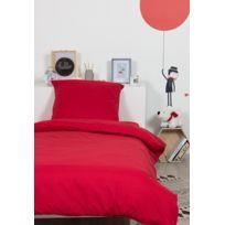 Comptoir Des Tisseurs - Housse de couette unie polycoton 140x200 cm rouge