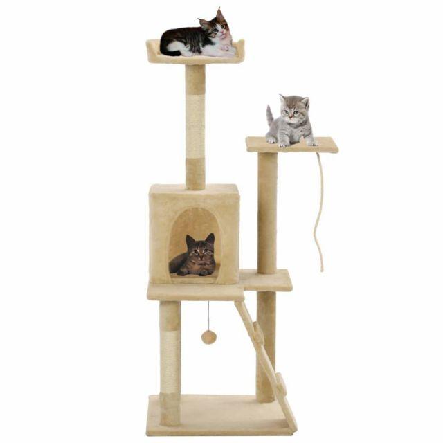 Helloshop26 Arbre à chat griffoir grattoir niche jouet animaux peluché en sisal 120 cm beige 3702163