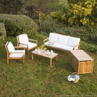 GreenPath - Salon de jardin 5 places : Canapé + 2 fauteuils + table ...