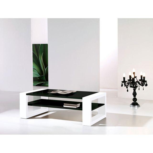 Kasalinea Table basse noir et blanc laqué design Cynthia