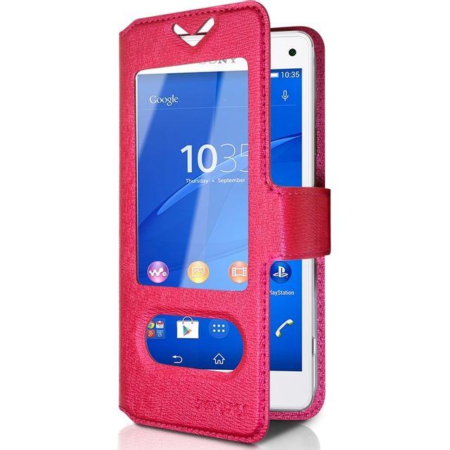 Karylax - Housse Coque Etui S-view Universel S Couleur Rose Fushia pour  Sony Xperia 46fd5f81b97