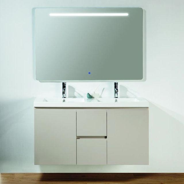 Rue du bain meuble de salle de bain caramel 2 tiroirs double vasque et miroir led 120x46 - Meuble salle de bain rue du commerce ...