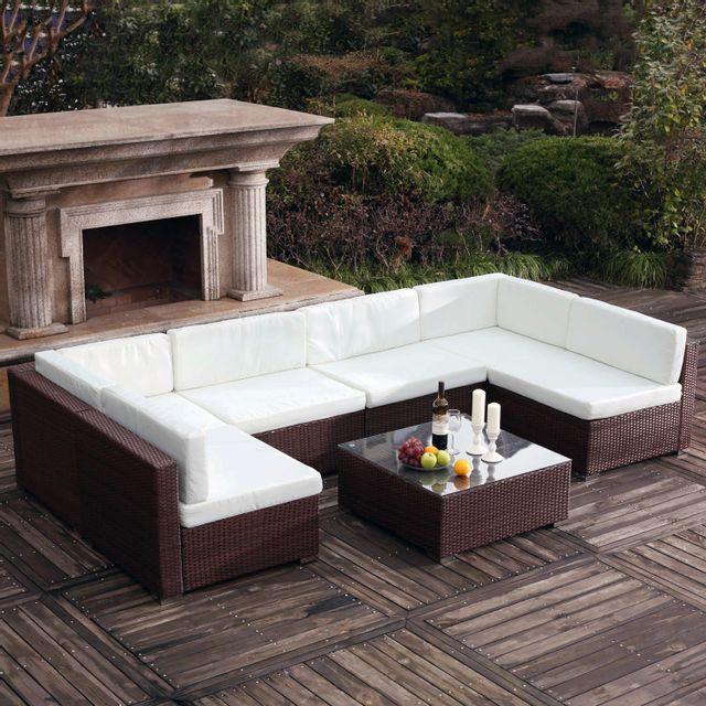 CONCEPT USINE - Bahru Marron/Blanc : grand salon de jardin en résine ...