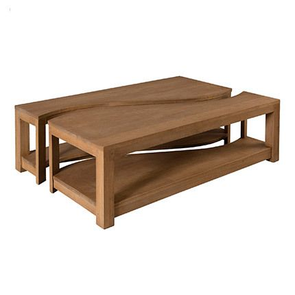 Table basse rectangulaire bipartite Hambourg - bois naturel