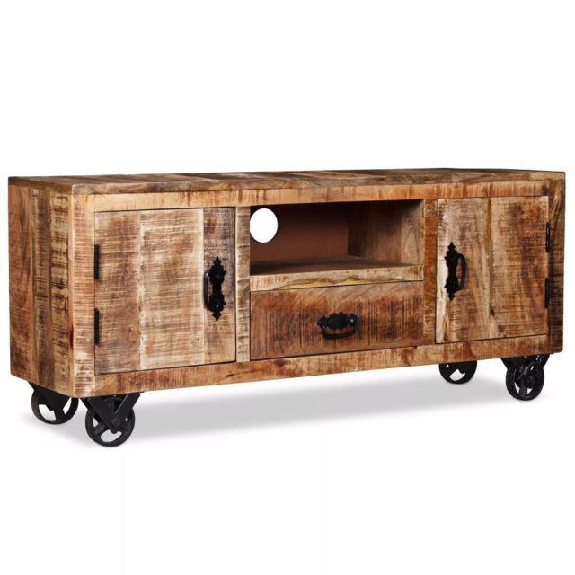 Helloshop26 Meuble télé buffet tv télévision design pratique bois de manguier brut 120 cm 2502131