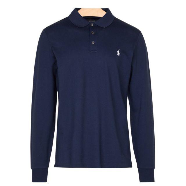 Ralph Lauren - Polo manches longues 3 boutons Bleu marine - pas cher Achat    Vente Polo homme - RueDuCommerce 7b4c17ea1ef