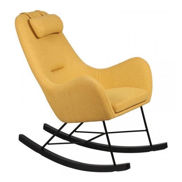 Dansmamaison Rocking Chair Jaune - Samne - L 70 x l 83 x H 102 cm