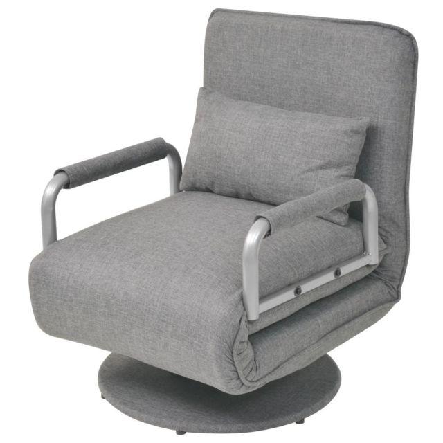 VIDAXL Fauteuil pivotant et canapé-lit Gris clair 60 x 75 x 80 cm | Gris