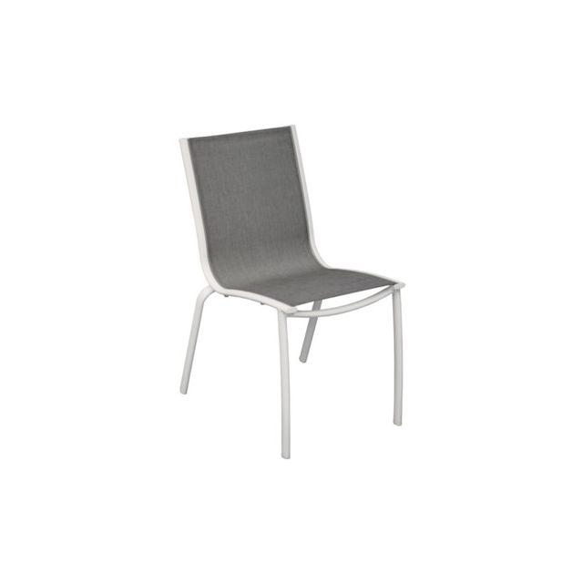 Proloisirs - Chaise Linea en aluminium blanc sand et textilène ...