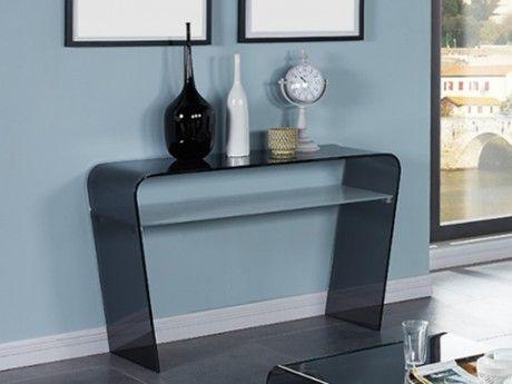 console pearl ii plateau verre tremp coloris noir vendu par rueducommerce 194692. Black Bedroom Furniture Sets. Home Design Ideas