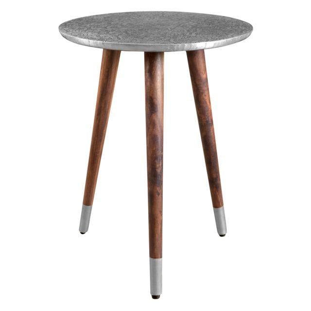 Rendez Vous Deco Table basse ronde Sahru chrome